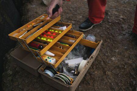 Close-up of fisherman's fishing equipment box. Fishing and sport concept. 版權商用圖片