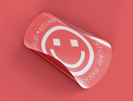 3D Illustration. Adhesive sticker mockup with fold edge on isolated background. Adherent tag template.