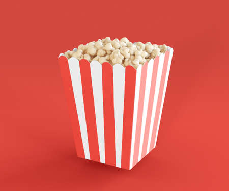 3D Illustration. Popcorn in red white striped bucket on isolated red background. Entertainment box. Candy concept. Cinema snack. Imagens