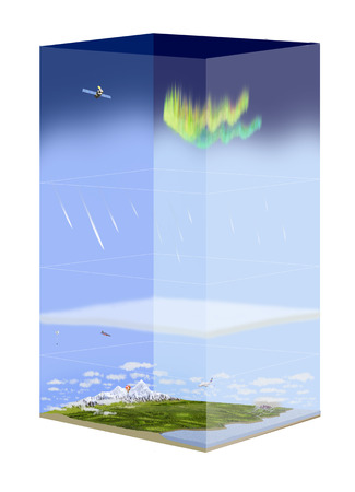 ozone layer: Digital illustration of atmosphere layers Stock Photo