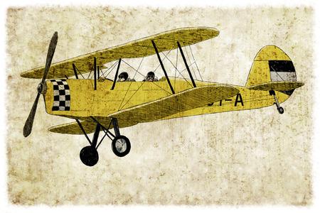 Digitale vintage illustratie van een gele tweedekker
