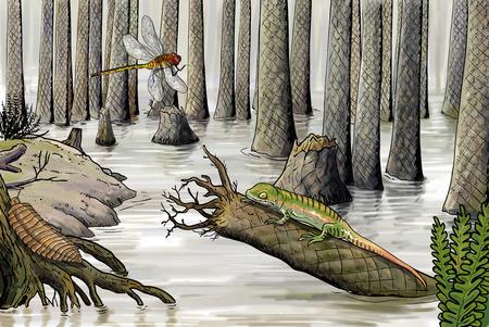 extinction: Devonian wildlife digital illustration, carboniferous