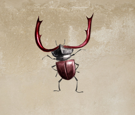toon: Toon digital illustration of a Stag beetle Stock Photo