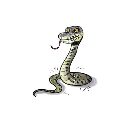 toon: Toon digital illustration of a water or grass snake Stock Photo