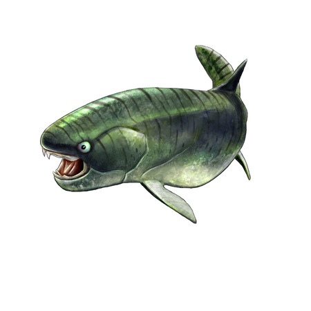 Digital illustration of a placoderm dukleosteus, prehistoric fish illustration