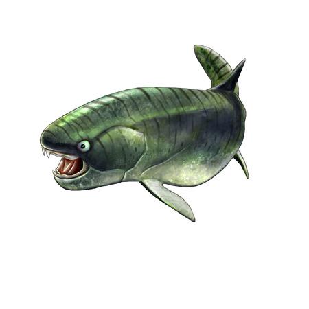 prehistoric fish: Digital illustration of a placoderm dukleosteus, prehistoric fish Stock Photo