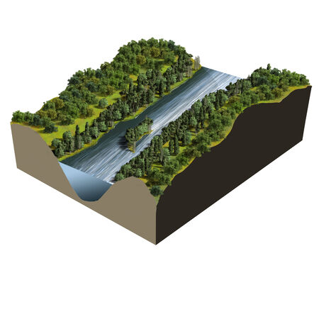extreme angle: Model of Terrain river, digital illustration