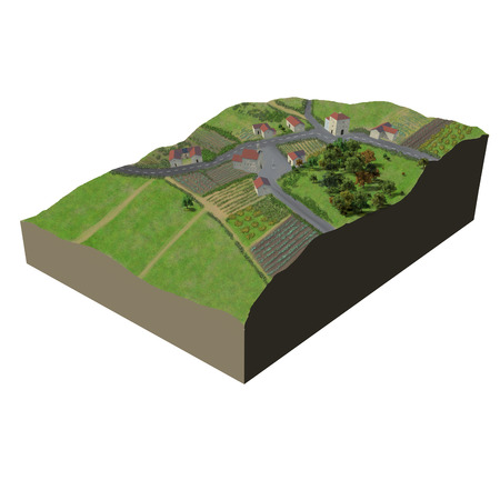soil: Digital illustration of a Terrain village