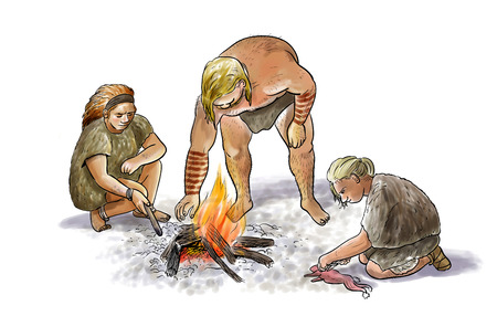 homo erectus: Digital illustration of a group of neanderthals with cooking fire Stock Photo