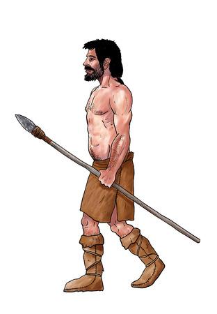 hombre prehistorico: Homo sapiens, cromagnon. Ilustración La evolución humana Foto de archivo