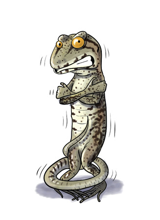 shiver: Digital illustration of a Shiver Lizard cold Stock Photo