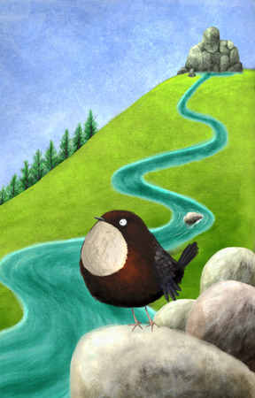 toon: Digital toon  illustration of a dipper near the river