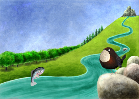 toon: Digital toon  illustration of a River with salmon and dipper