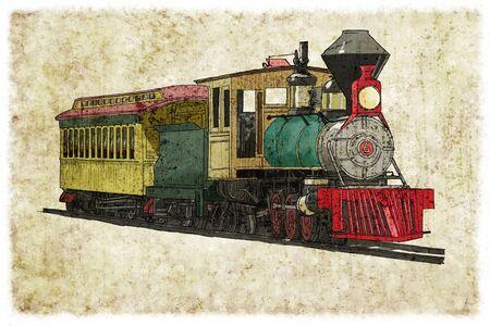 Steam train digital illustration vintage Stock Photo