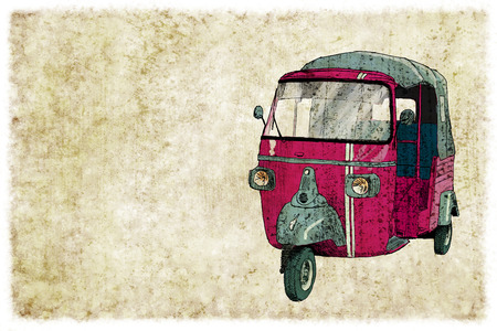 Digital vintage illustration of a tuc tuc