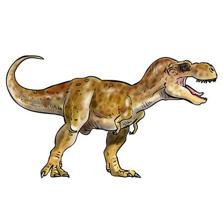 T-rex digital watercolor illustration, inked