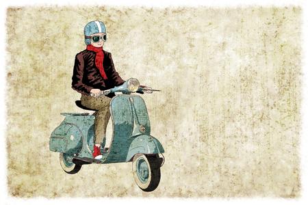 vespa piaggio: Vecchia bici stile, vespa. Illustrazione digitale