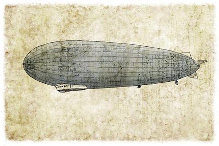 Digital vintage illustration of a zeppelin 版權商用圖片