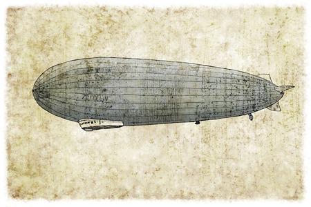 Digitale vintage illustratie van een zeppelin