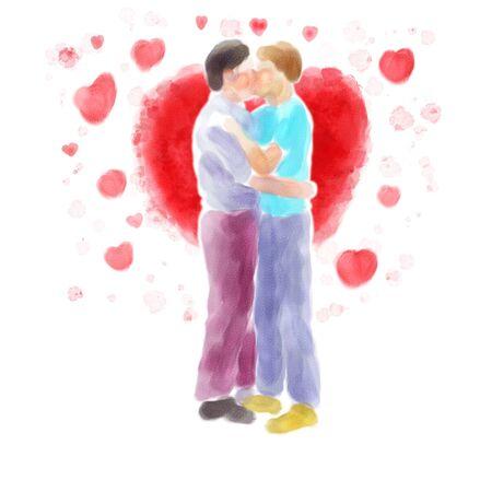 amor gay: Ejemplo de la acuarela digital de una pareja besándose