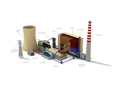 3d rendering illustration of a thermal power plant