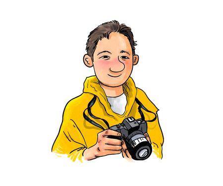 toon: Toon boy photographer digital illustration