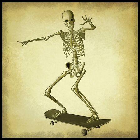 Digital illustration of a skater skeleton Stock Photo