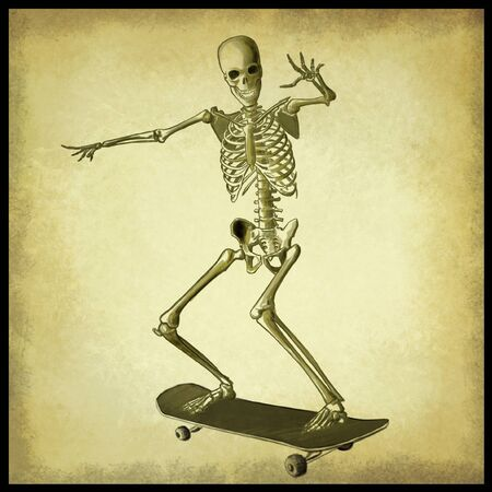 Digital illustration of a skater skeleton Stock Photo