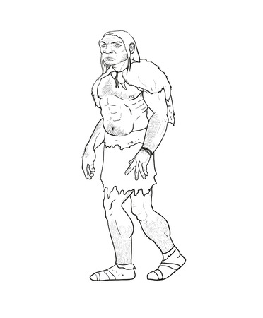 neanderthal man: Human evolution digital  illustration, homo erectus, australopithecus, homo habilis, neanderthal, cromagnon