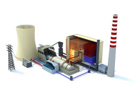 3D-weergave van een thermische centrale geïnkt Stockfoto - 35766204