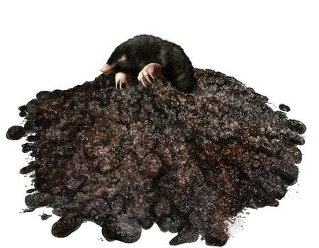 Digitale illustratie van de mol in zijn molshoop