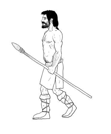 erectus: La evoluci�n humana ilustraci�n digital, homo erectus, del australopiteco, el homo habilis, neanderthal, cromagnon