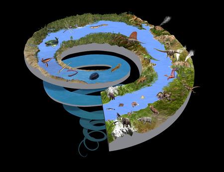 geologic: Digital illustration of the Geologic Time Spiral Stock Photo