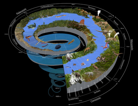 tertiary: Digital illustration of the Geologic Time Spiral Stock Photo