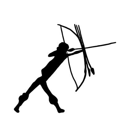 Prehistorische voorstelling van een krijger. digitale illustratie