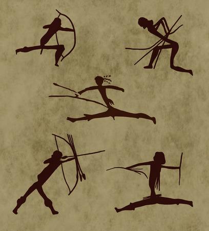 pintura rupestre: Representación prehistórica de un guerrero. Ilustración digital