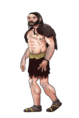 neanderthal: digital illustration of a neanderthal. Prehistoric