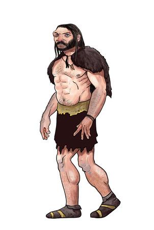 digital illustration of a neanderthal. Prehistoric