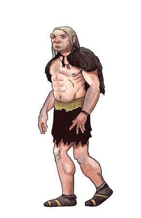 neanderthal: Digital illustration of a blond Neanderthal