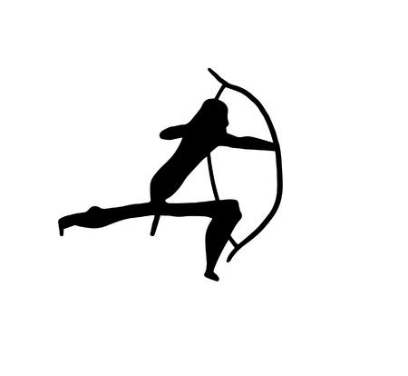peinture rupestre: La représentation d'un guerrier préhistorique. Illustration numérique