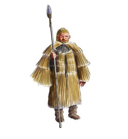 hombre prehistorico: Ilustración digital de un hombre prehistórico con una capa de lluvia de la paja Foto de archivo