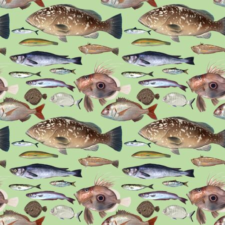 aquaculture: Repeat pattern of digital painted fish