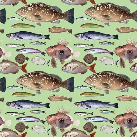 tropical fresh water fish: Repeat pattern of digital painted fish