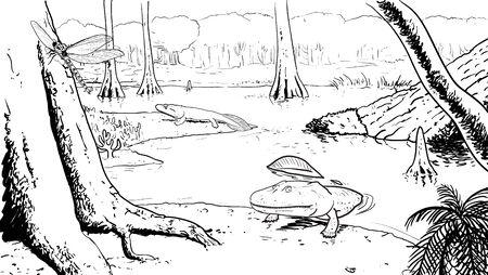 origin: Digital illustration of the Origin of the amphibians, devonian