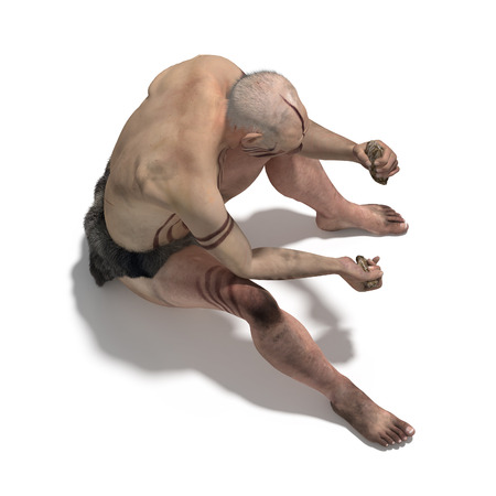 homo erectus: Old man of neanderthal making a flint tool Stock Photo
