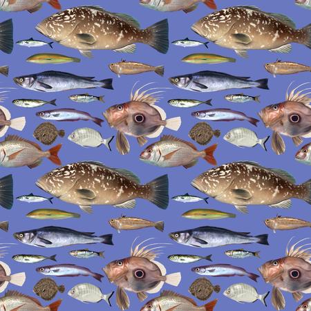aquaculture: Repeat pattern of digital painted fish