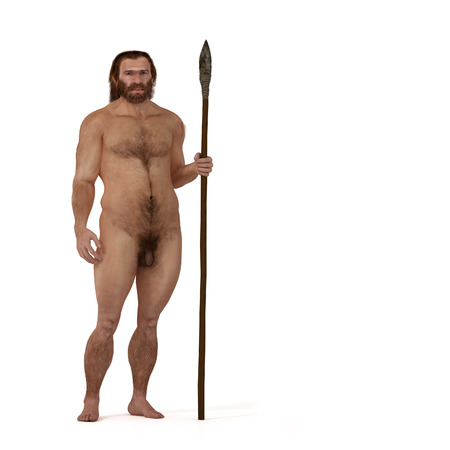 Digital illustration and render of a Neanderthal man