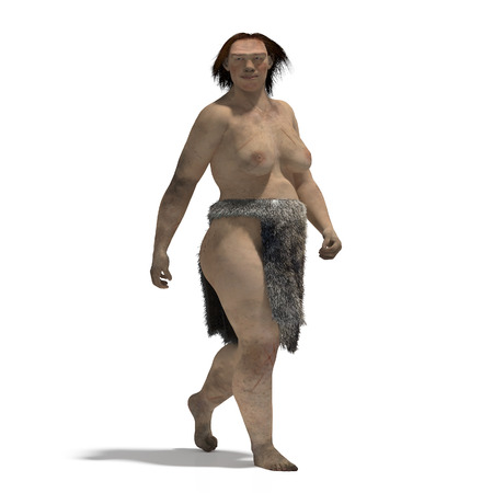 homo erectus: Digital illustration of a woman of neandertal