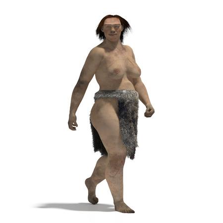 neanderthal man: Digital illustration of a woman of neandertal