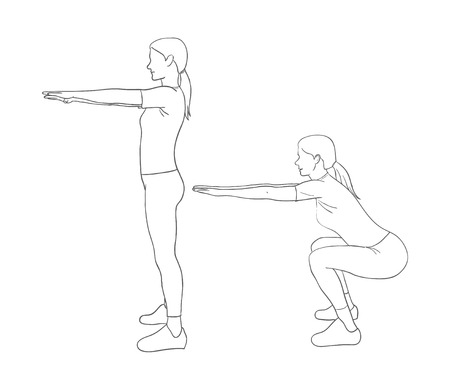 raises: Digital illustration of a fitness woman doing squats Stock Photo